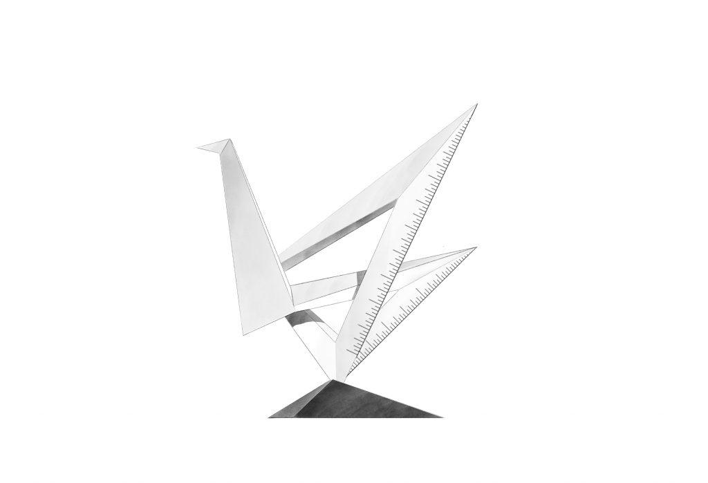 博仟北京雕塑公司的雕塑设计作品三角板天鹅