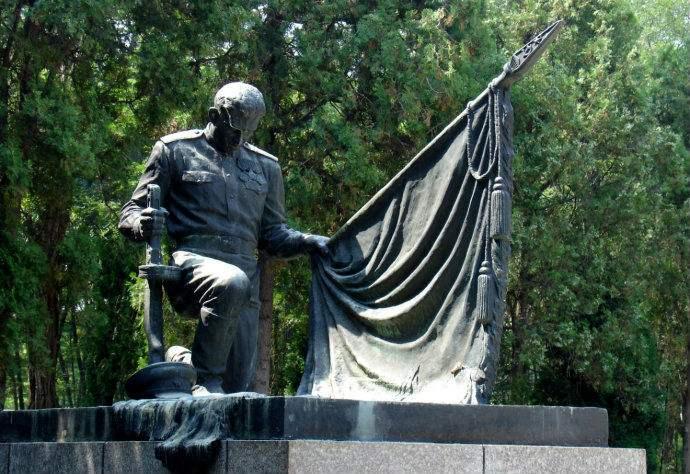 党旗人物铸铜雕塑