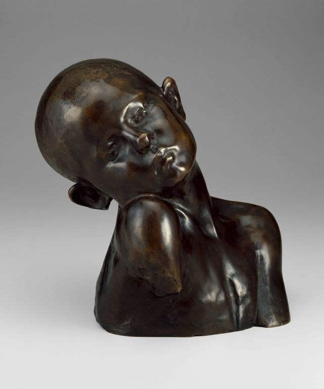 小孩人物肖像铸铜架上雕塑艺术品