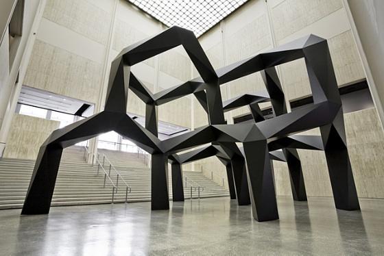 黑色现代几何题抽象雕塑