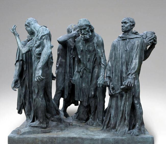 罗丹的加莱义民群组人物雕塑铸铜雕塑艺术品