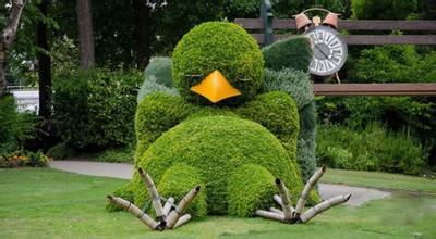 小鸟绿色植物雕塑