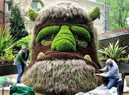 魔兽兽人头像绿色植物雕塑