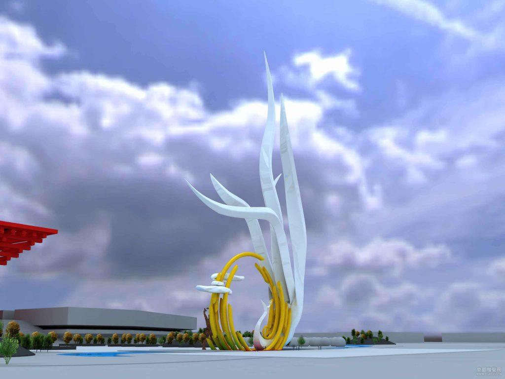 飘带与鸽子和平最新雕塑手绘设计稿城市雕塑