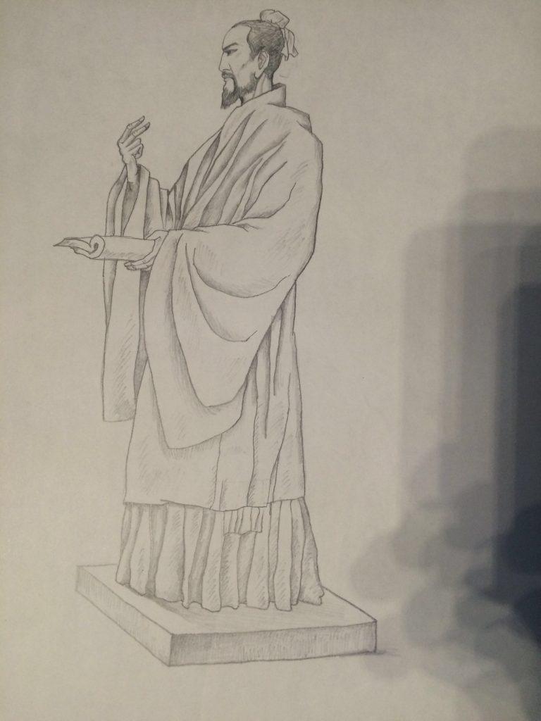 古代人物最新雕塑手绘设计稿