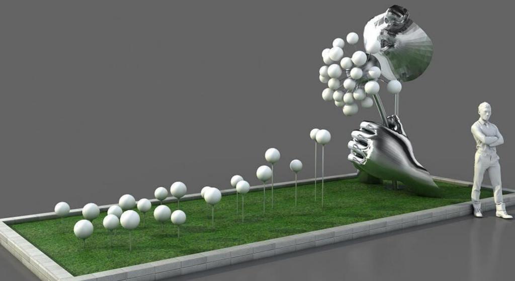 吹蒲公英大型不锈钢雕塑