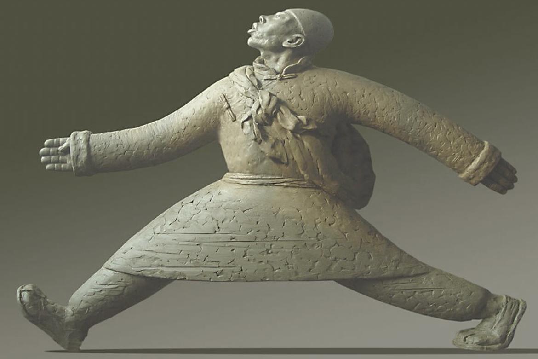 走西口夸张铸铜人物城市雕塑