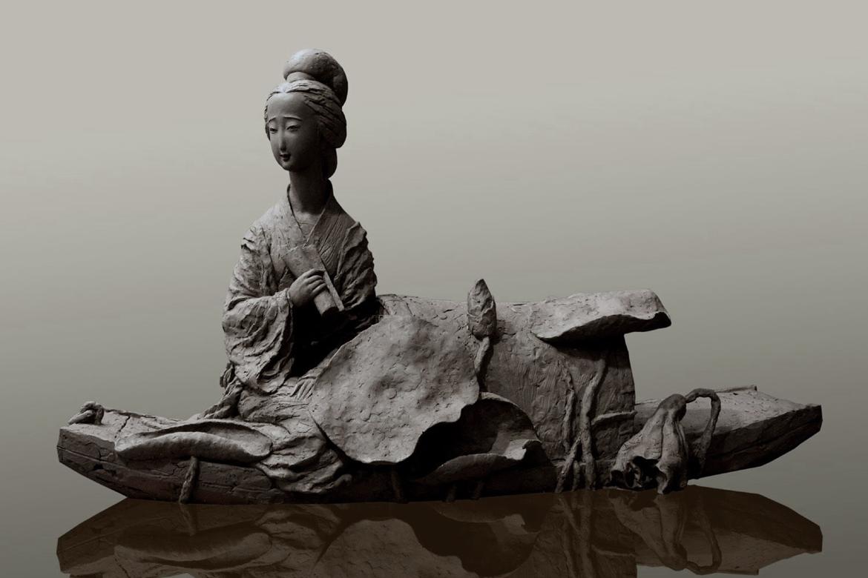 李清照玻璃钢古代人物雕塑高清照片