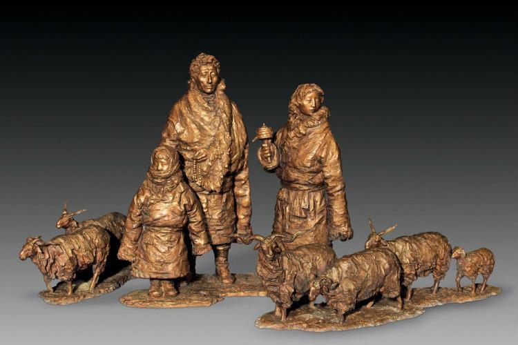 放羊一家人群组铸铜雕塑