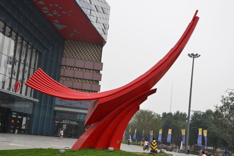 博仟城市万博体育彩票官网app厂家的潍坊万达广场红色向上大型园林景观不锈钢户外万博体育彩票官网app