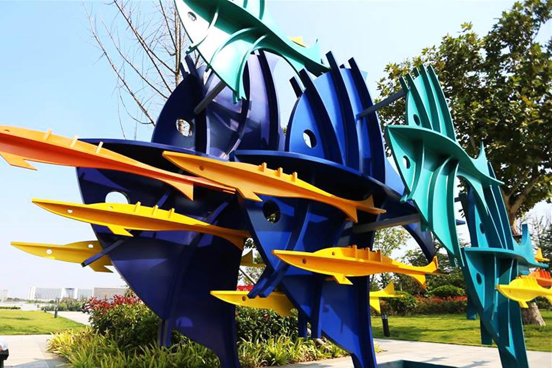 蓝色之梦海洋鱼群不锈钢鱼雕塑