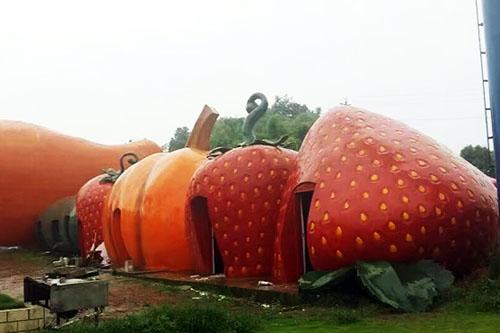 草莓南瓜彩色水果塑石假山雕塑建筑