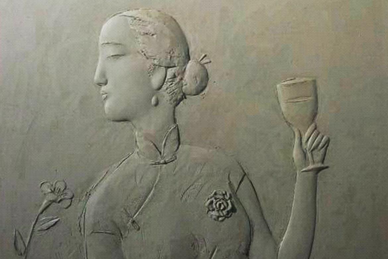 博仟北京万博体育彩票官网app公司创作的喝酒赏花的民国美女抽象人物浮雕