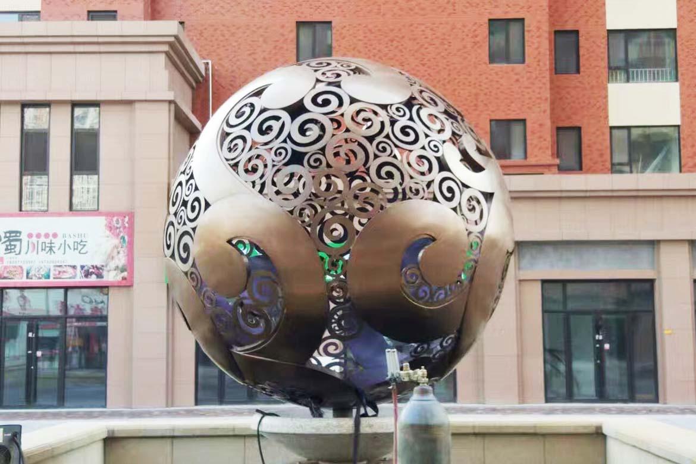 不锈钢空心球镂空球景观万博体育彩票官网app大球安装加工过程