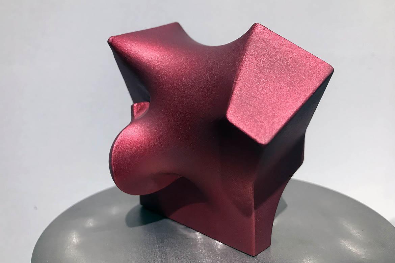 玫红色抽象不锈钢雕塑小品造型