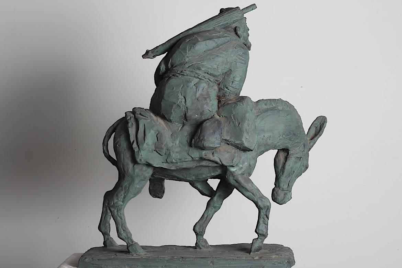 骑驴赶考的玻璃钢仿铜万博体育彩票官网app